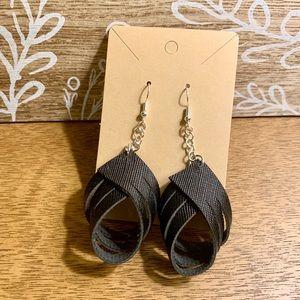 Black Faux Leather Loop Earrings